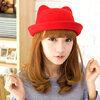 หมวกสีเรียบ มีหู
