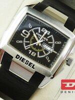 นาฬิกา Diesel Bugout หน้าปัดดำขอบเงิน สายหนังแท้ งานเกรด Mirror เทห์สุดๆ