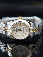 นาฬิกา Rolex DateJust Rose Gold งานเกรด Mirror สายจูบิรี่ หน้าปัดสีขาวฝังเพชร สายสีทองสลับเงิน 26 mm. Lady Size