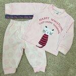RBB472 เสื้อผ้าเด็ก Size 12m-18m-24m ชุดกันหนาวเด็กพิมพ์ลายแมว สีชมพู