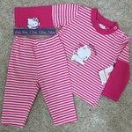 ชุดนอนเด็กแขนยาว สีชมพู ปักลายแมว Size 6m-24m รหัส N-001