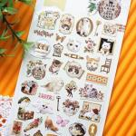 (1แผ่น/ชุด) สติ๊กเกอร์สไตล์วินเทจ ชุดแมว Sonia Korea Sticker