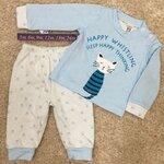 RBB471 เสื้อผ้าเด็ก Size 12m-18m-24m ชุดกันหนาวเด็กพิมพ์ลายแมว สีฟ้า