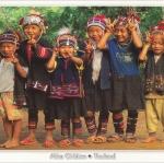 โปสการ์ด เด็กชาวเขาเผ่าอาข่า /ชาวเขา/การแต่งกาย