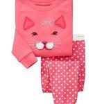 ชุดนอนเด็ก Baby Gap ลายแมวเหมียว สีชมพู แขนยาว