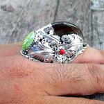 แหวนเงินแท้ เล็บหมีขนาดใหญ่(คัดพิเศษ) ประดับเม็ดเทอร์ควอยท์แท้