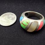 แหวนปลอกมีด เทอร์ควอยซ์ เปลือกหอยมุก หินสี
