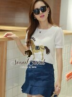 Nifty White Blouse Golden Gee-Gee match with Denim Skirt