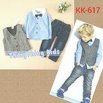 ชุดเด็กชาย เสื้อสีฟ้าติดหูกระต่าย เสื้อกั๊กสีเทาละกางเกงยีนส์ขายาว ไซส์ 2T,3T,4T,5T,6T,7T