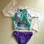 SM-V1-419 ชุดว่ายน้ำแขนยาว+บิกินี่สีม่วง เสื้อพื้นเขียวลายดอกไม้สวย thumbnail 3