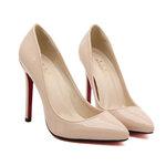[พร้อมส่ง] ไซส์ 45 รองเท้าส้นสูงไซส์ใหญ่ สไตล์ยุโรป สีเบจ - KR0275