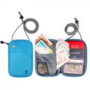 กระเป๋าใส่พาสปอร์ตห้อยคอ คล้องคอได้ กระเป๋าใส่หนังสือเดินทาง ป้องกันการขโมยข้อมูลบัตรเครดิตด้วยคลื่น RFID (Blue)