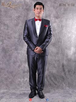 เช่าชุดแต่งงาน &#x2666 ชุดเจ้าบ่าว ชุดสูท สีสีเทาเข้ม ขลิบดำ