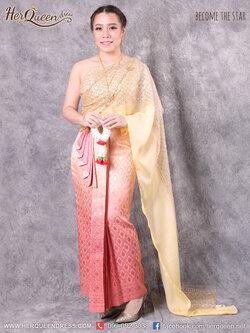 เช่าชุดแต่งงาน &#x2665 ชุดแต่งงานพิธีไทย ชุดไทยแต่งงาน สไบเกล็ด 2 ชั้น ซิ่นไล่สี หน้านาง 5 ชั้น ยกพกแผ่