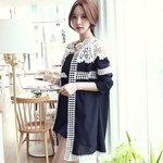 [[พร้อมส่ง]] pr เสื้อคลุมสีดำ แต่งลูกไม้ที่ตัวเสื้อเพิ่มความหวานแขนยาว สวยเก๋สไตล์เกาหลีค่ะ VV7812