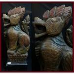 ไม้แกะสลักสิงห์ประดับหัวเกวียน ศิลปะพม่า สูง 15 นิ้ว