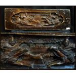 แผ่นไม้แกะสลักศิลปะจีนเก่า-ลายแม่ทัพ 17 นิ้ว