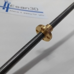 Lead Screw Dia 8mm Length 400mm และ Copper Nut (Pitch=1mm, Lead=1mm)