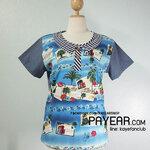 เสื้อ ผ้ายีนส์ตัดต่อคอตตอน ลายฮาวาย สีน้ำเงิน อก 42 นิ้ว