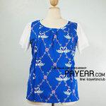 เสื้อ ผ้ามอสเครป ลายหงส์ สีน้ำเงิน อก 46 นิ้ว