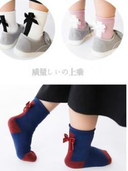 SC107-98 ถุงเท้ากันหนาวขนเทอรี่ แต่งโบว์สวย นุ่ม อุ่นสบาย ขนาด 20-22 cm สำหรับเด็ก 9-12 ขวบ