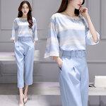 DR_8564 (pre-order) ชุดทำงานเสื้อกางเกง โทนฟ้า , June , 2016, Dress, Blue White, S-M-L-XL-XXL, ~1000-1999
