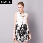 DR_8013, เดรสแบรนด์ Camel แขนกุด 2 Tones, Premium Brands, July, 2015, Dress, White&Black, S-XL, ~2000-2999