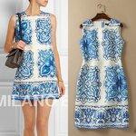 DR_8031, Milan Fashion, D&G, เดรสแบรนด์ตัดป้ายพิมพ์, Aug, 2015, Blue S-XXL< ~2000-2999
