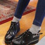 (พร้อมส่ง)Stylenanda point black Shoes รองเท้าหนังสีดำทรงสวยแต่งพู่สุดเก๋