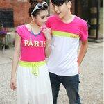 เสื้อคู่รัก  ชุดคู่รัก พร้อมส่ง ชายเสื้อยืดคอกลม  + หญิงเดรสยาวจั้มเอว แต่งสีชมพูเขียวขาว สกรีน PARIS
