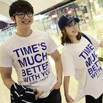 เดรสคู่รักเกาหลี แฟชั่นคู่รัก ชายเสื้อยืด + หญิงเสื้อยืดทรงผีเสื้อ สีขาว สกรีนTIME'S MUCH BETTER WITH YOU  +พร้อมส่ง+