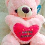 """ตุ๊กตาหมีบอกรัก ตุ๊กตาหมีกอดหัวใจปักคำว่า""""happy Birthday"""" ขนาด 40 เซนติเมตร สีชมพู"""