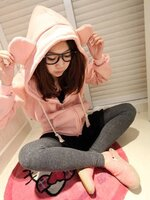 เสื้อคลุมกันหนาวแฟชั่น มีฮู๊ดหูหมีน่ารัก ๆ ซิปหน้า สีชมพูอ่อน
