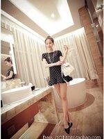 เดรสเกาหลี แขนสั้นลายจุดน่ารัก สีดำจุดขาว