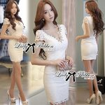 Lady Patti Haute Ravishing Embellished Lace Dress Size M : เดรสผ้าลูกไม้สีขาวประดับเลื่อม ขนาด M