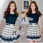 Lady Claire Mixed Print Sleeveless Insert Chiffon Shirt Dress Size M : เดรสเชิ้ตเสื้อสีกรมต่อกระโปรงพิมพ์ลาย ขนาด M (พร้อมเข็มขัด)