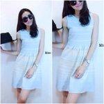 Stripe Knit Dress   เดรสไหมพรมแขนกุดลายริ้วเล่นระดับ สีฟ้า