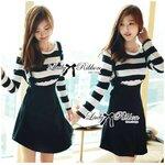 Lady Poppy Long-Sleeve Striped Overall Dress เซทเสื้อแขนยาวลายขวาง + เดรสเอี๊ยมกระโปรงสีดำ
