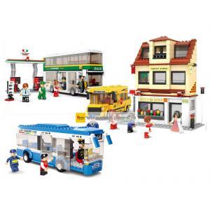 ขนส่ง (Transport) S-set 3. ตัวต่อเลโก้จีน โรงเรียน รถรับนักเรียนและรถบัส (ชุด 3 กล่อง)