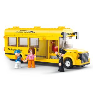 ขนส่ง (Transport) S-0507. ตัวต่อเลโก้จีน ชุดรถนักเรียนคันเล็ก