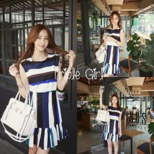 Mixed Color Stripe Dress เดรสลายริ้วสลับสี