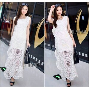 Glam Lace Maxi Dress แม็กซี่เดรสลูกไม้ถัก สีขาว