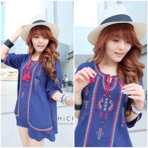 Embroidery Bohemian Mini Dress มินิเดรสลายปักสไตล์โบฮีเมี่ยน สีน้ำเงิน