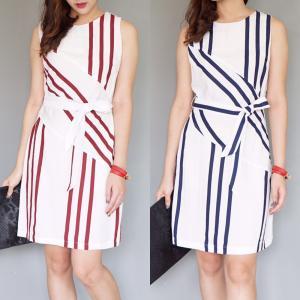 Striped Dress เดรสแขนกุดลายริ้ว