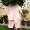 ชุดเซ็ตผ้าสำลีลายหัวใจสีชมพูพร้อมฮูท size 9m 190*2