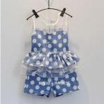 เสื้อ+กางเกง สีฟ้า แพ็ค 5ชุด ไซส์ 7-9-11-13-15