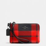 Preorder Coach MOUNT plaid corner zip wristlet in crossgrain leather STYLE NO. 64205