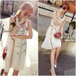 Flower & Leaf Glitter and Colors Jewel Furnish Premium Mini Dress by Seoul Secret