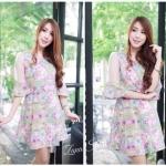 Violet Floral Dress เดรสลายดอกไม้โทนสีม่วง