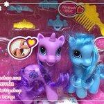 ตุ๊กตาม้า Merry ม้าผมสวย 1 ชุดมี 2ตัวพร้อมอุปกรณ์แต่งผม (สีม่วง+ฟ้า)